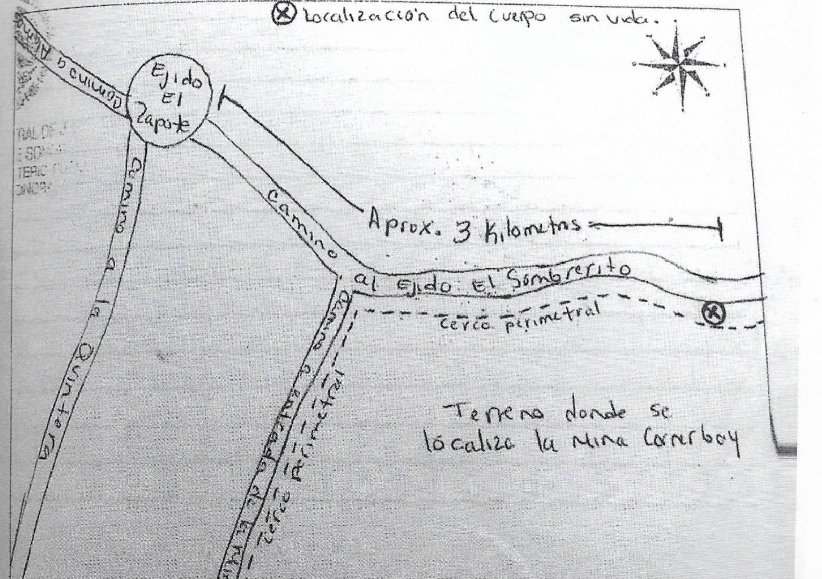 17. Foto mapa de hallazgo del cuerpo