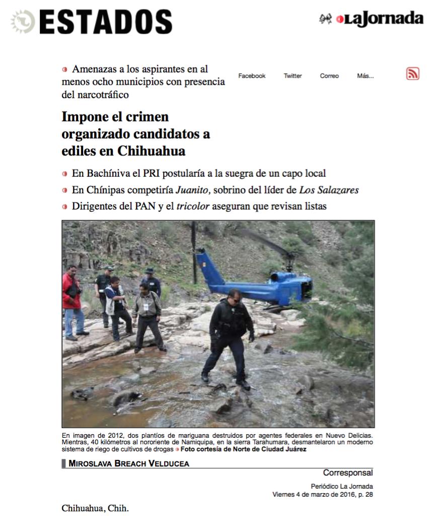 2. Leyenda_ Impone el crimen organizado candidatos a ediles en Chihuahua. La Jornada