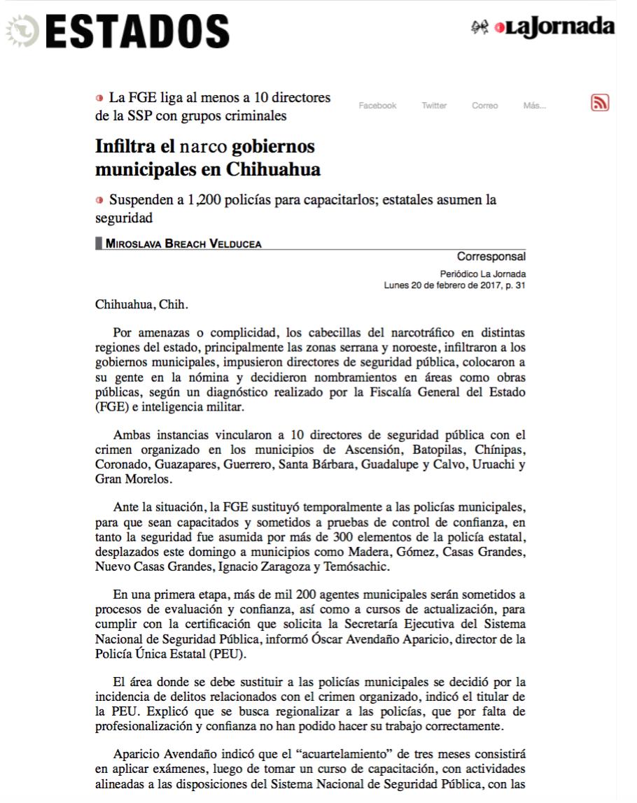 5. Infiltra el narco gobiernos municipales en Chihuahua. La Jornada, 20_02_2017