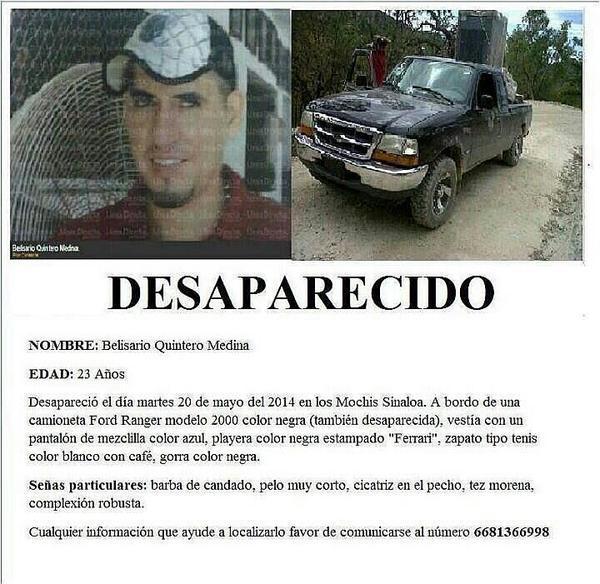 Foto 1. Cartel de búsqueda de Belisario Quintero Medina. Crédito Rastreadoras de El Fuerte y Zona Norte de Sinaloa